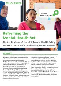 Cover of Reforming the Mental Health Act briefing